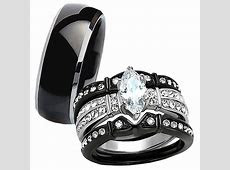 Hot 4 Pc His Tungsten Her Black Stainless Steel Wedding Engagement Ring Band Set   eBay