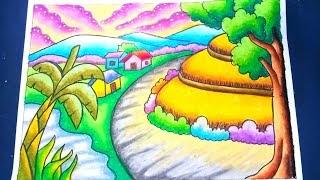 [Paling disuka] Mewarnai Gambar Pemandangan Desa