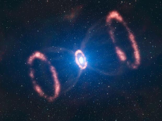 Impressão artística de explosão da supernova 1987A, localizada na galáxia satélite da Via Láctea, a Grande Nuvem de Magalhães. Vista pela primeira vez, a olho nu, em 1987, a estrela que existia ali agora é estudada pela primeira vez por uma visão 3D.