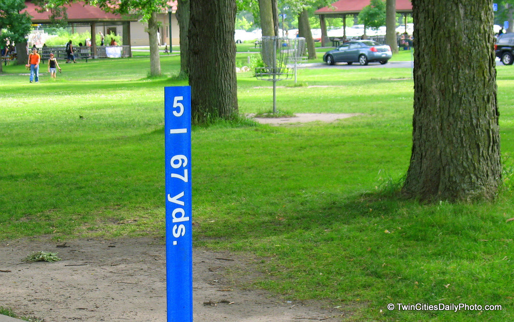 I've seen these at a few parks in the Twin Cities, they are Frisbee golf courses. I spoke with someone at the park who was playing, there stores that sell competitive items and leagues for anyone to compete in.