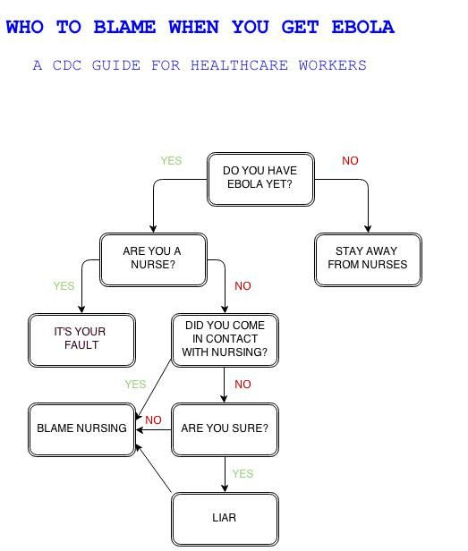 Who to blame when you get Ebola.  A CDC guide for healthcare workers flowchart humor photo.