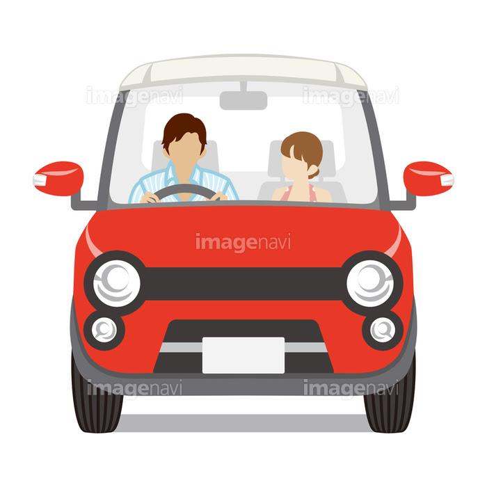 赤い車 カップル 正面 白バックの画像素材41020256 イラスト素材