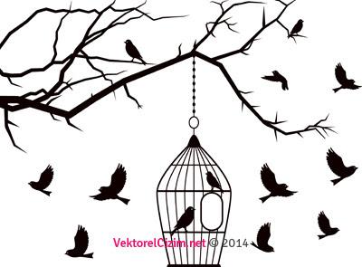 Vektörel çizim Kuşlar Kuş Kafesi Ağaç