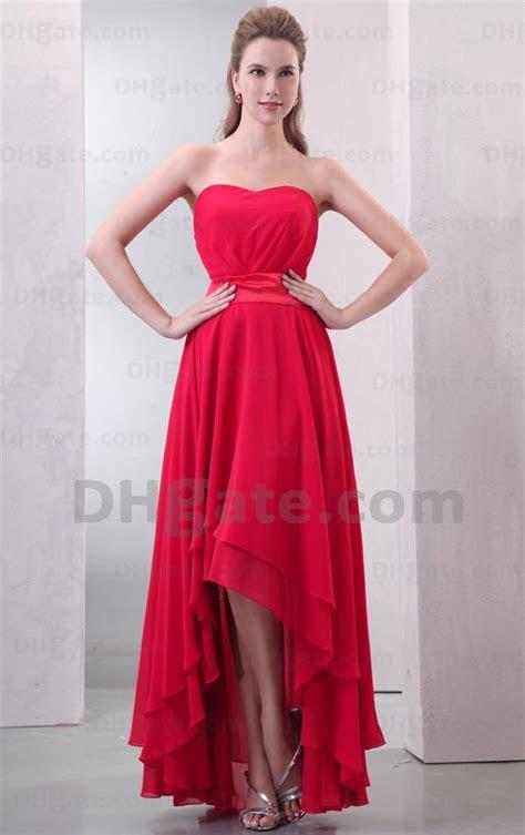 Red Bridesmaid Dress Short Front Long Back Sheath