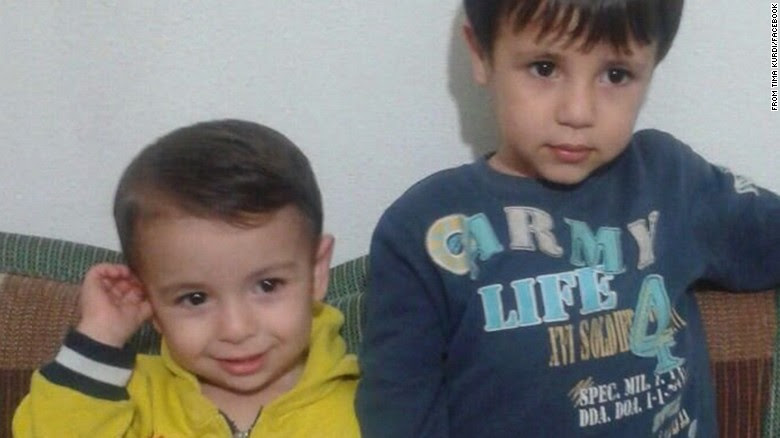 The body of a 2-year-old boy who washed ashore in Turkey has been identified as Aylan Kurdi, seen here on the left with his brother, Galip. Their mother, Rehen, also died, Fin Donnelly, a member of the Canadian Parliament, told CNN partner CTV. The boys' aunt, Tima Kurdi, who lives in Canada, posted this image to Facebook.