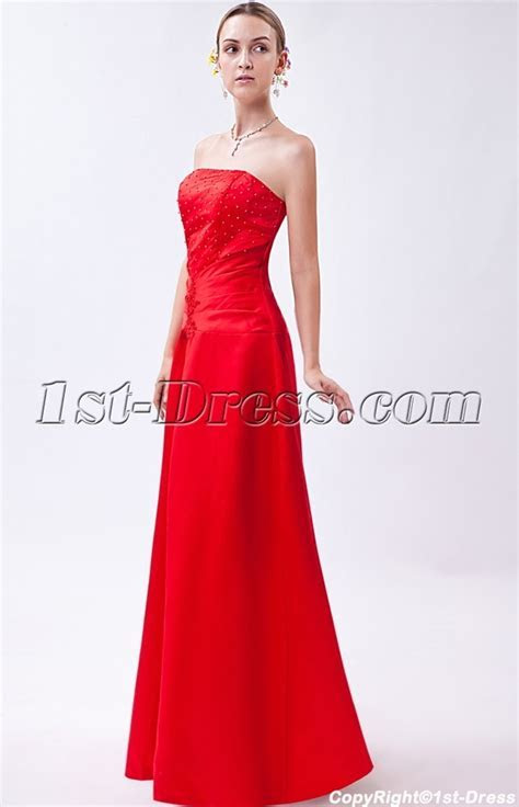 Discount Simple Red Long Corset Bridesmaid Dress IMG 0936