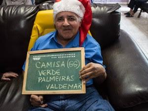 Valdemar mostrou seu amor ao time e afirmou que seu desejo é uma camisa do Palmeiras (Foto: Leticia Luchesi/Arquivo Pessoal)