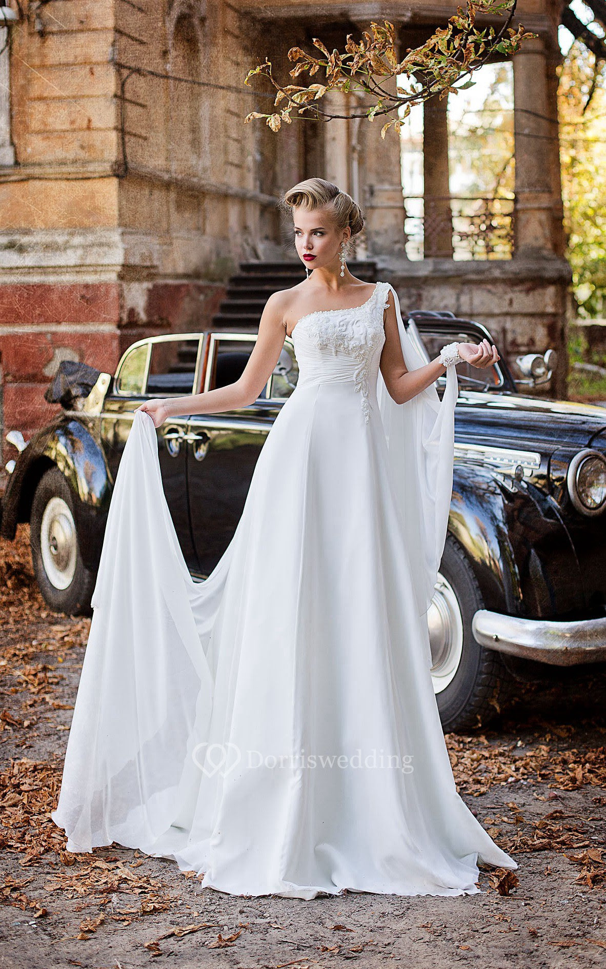 Sheath Floor-Length One-Shoulder Sleeveless Empire Lace-Up Chiffon Dress With Appliques And Beading