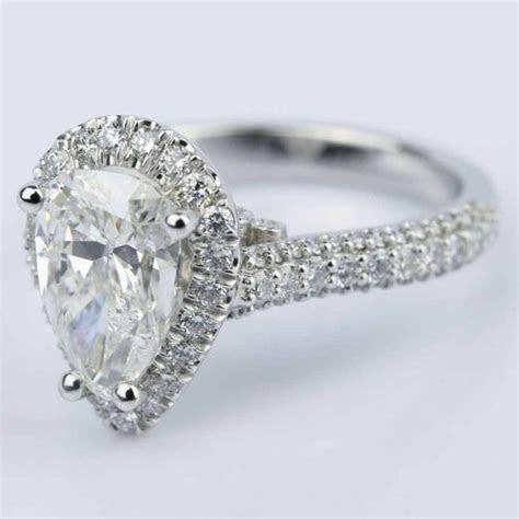 Custom Pear Cut Diamond Halo Engagement Ring (2 Carat)