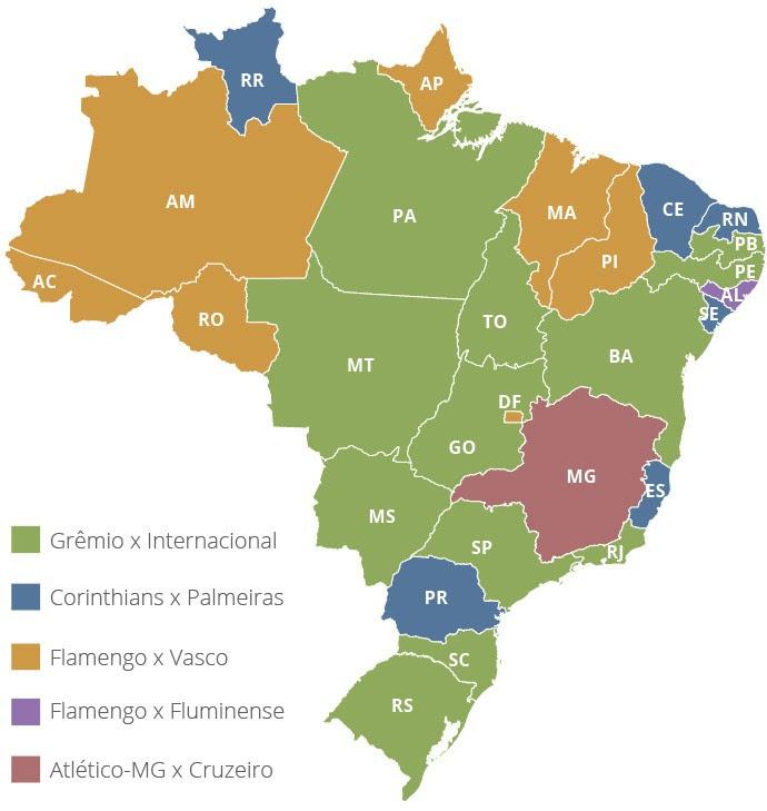 Mapa maiores clássicos opinião por estado