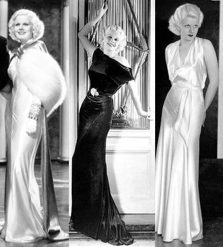 Jean Harlow was the epitomy of 1930's glamour in her signature silky bias-cut evening gowns