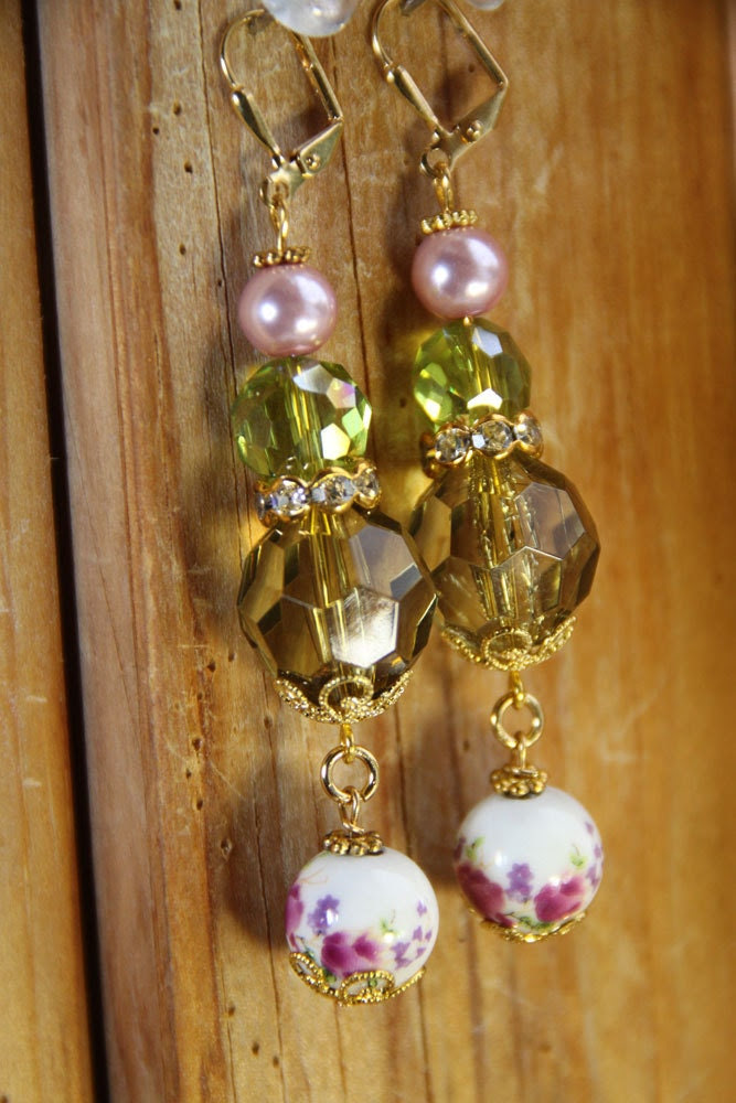 """2"""" 3/4 L Floral porcelain, Olive green acrylic, pink glass pearl, dangle, drop earrings"""