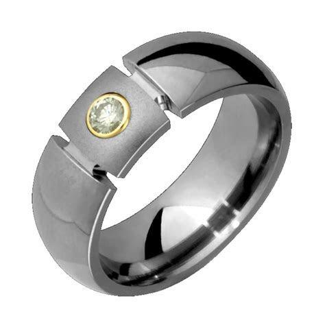 New Mens Titanium Ring .10Ct Diamond Rings Bride Groom