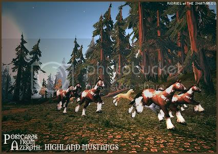 Rioriel's daily World of Warcraft screenshot presentation of significant locations, players, memorable characters and events taken on the European roleplaying server The Sha'tar, assembled in the style of a postcard series. -- Postcards from Azeroth: Highland Mustangs, by Rioriel of theshatar.eu
