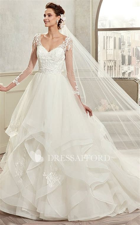 elegant Plunged Illusion Long Sleeve Organza Wedding Gown