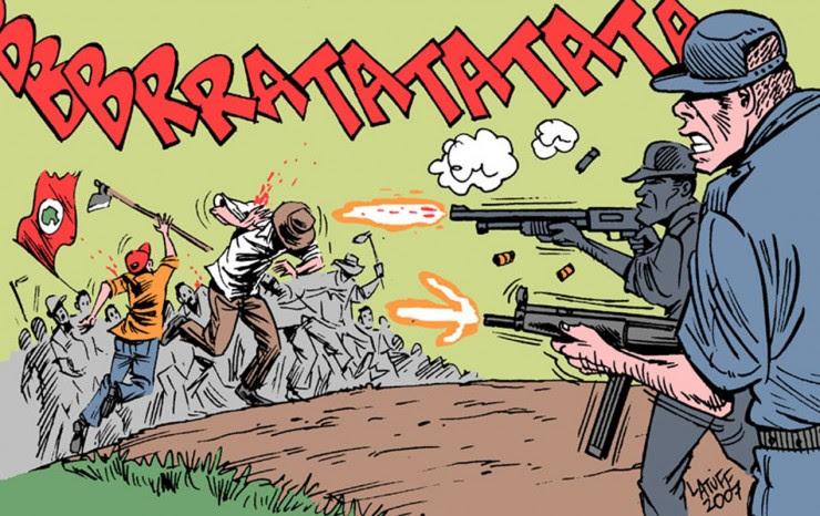 Resultado de imagem para cartuns morte trabalhadores rurais