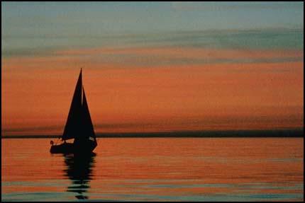 Sailboat on water-horizon lower 3rd