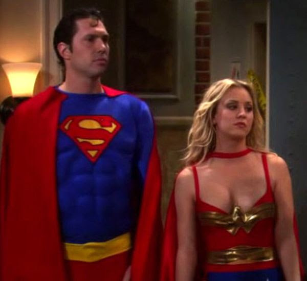 Zack (Brian Thomas Smith) is dressed as Superman while Penny (Kaley Cuoco) wears a Wonder Woman costume in a Season 4 episode of THE BIG BANG THEORY.