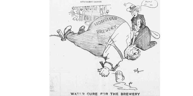Ilustración humorística acerca de los esfuerzos de las campañas antialcohol de la Anti-Saloon League y la Women's Christian Temperance Union (1902)