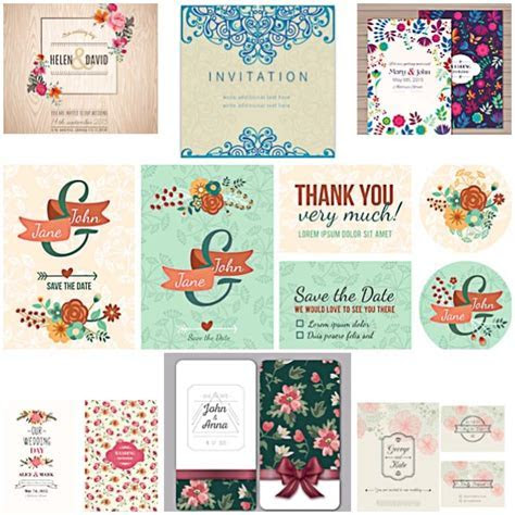 Floral modern wedding invitations vector   Free download