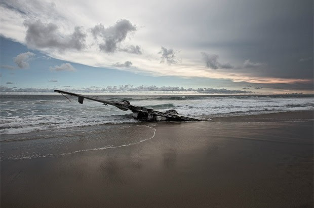 Resto de avião encontrado no litoral do México (Foto: Dietmar Eckell)