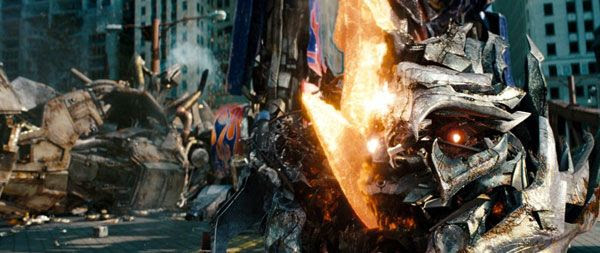 Megatron meets his end courtesy of Optimus Prime's Energon axe in TRANSFORMERS: DARK OF THE MOON.