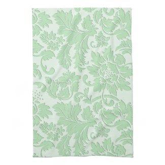 Pastel Green Monochromatic Vintage Floral Damask Towel