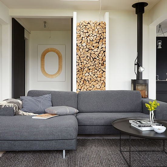 Modern living room with grey sofas | Decorating ...