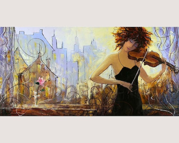 Painting Oil GICLEE Print on CANVAS From  FIGURATIVE  Series Size 13inX26in
