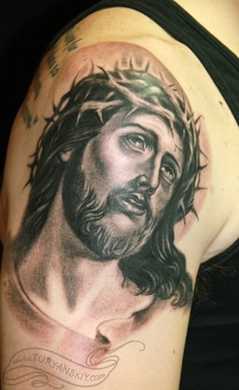 Barbed Jesus Tattoo On Shoulder 2 Tattoos Book 65000 Tattoos