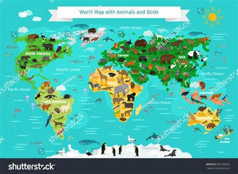 World Map Animals Birds Stock Vector 682700899   Shutterstock