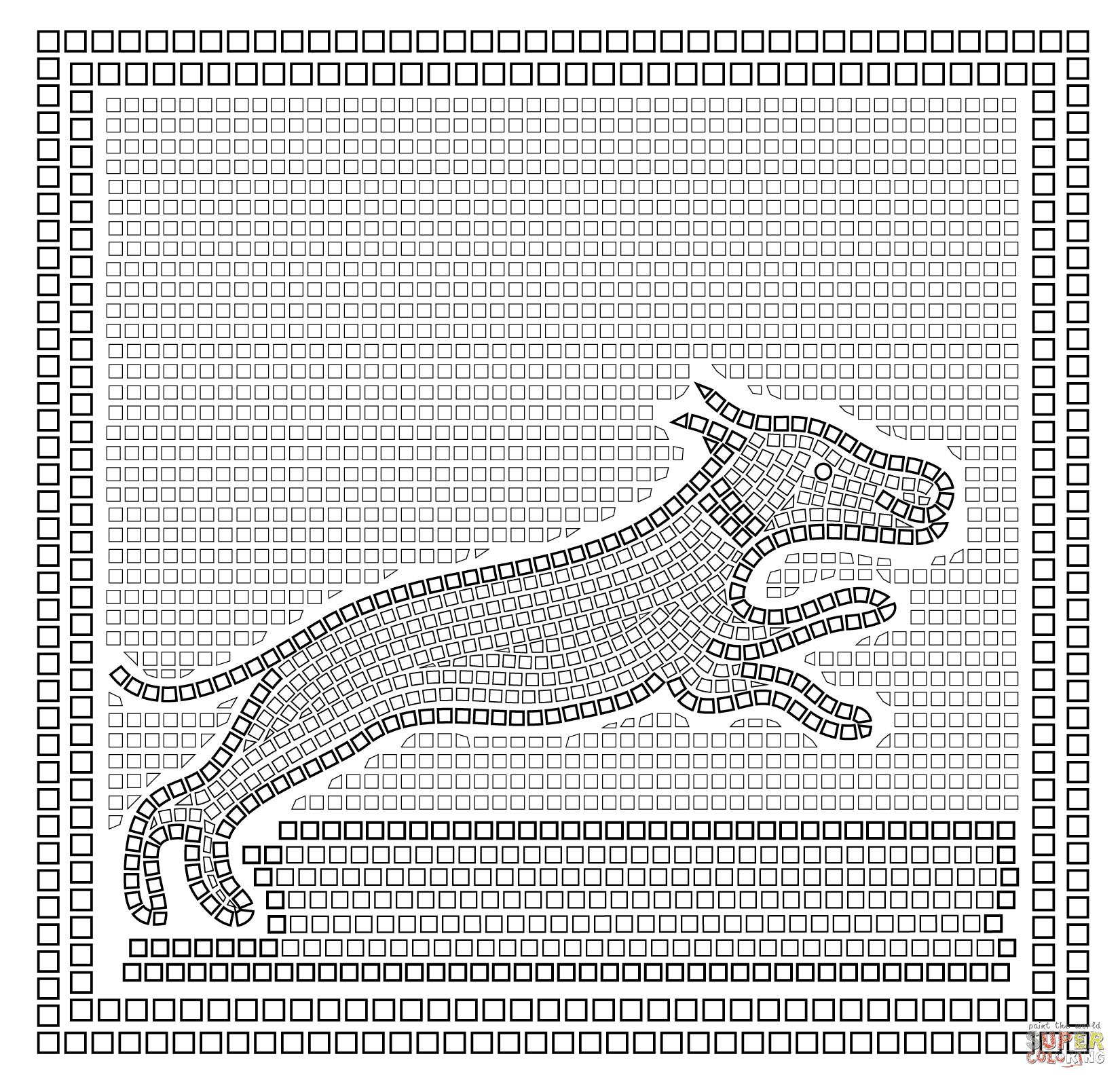 er sur la Mosa¯que romaine avec sc¨ne de chasse coloriages