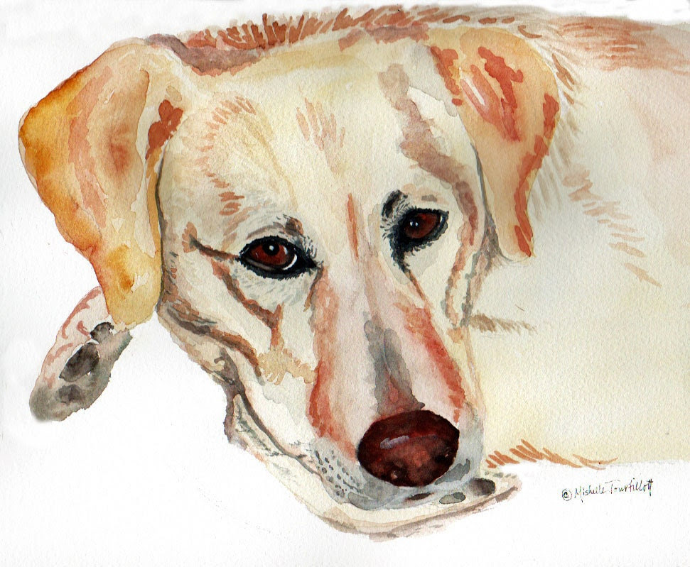 Labrador Dog Print From Watercolor Wall Art - ArtByMishelle