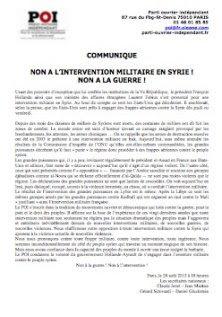 communiqué POI Syrie
