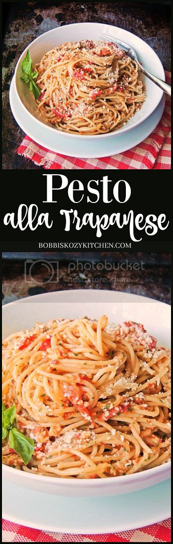 Pesto alla Trapanese - With ripe grape tomatoes that are bursting with flavor, fresh basil, and ground almonds to add body to the sauce, this is the ultimate fresh tasting pasta! From ww.bobbiskozykitchen