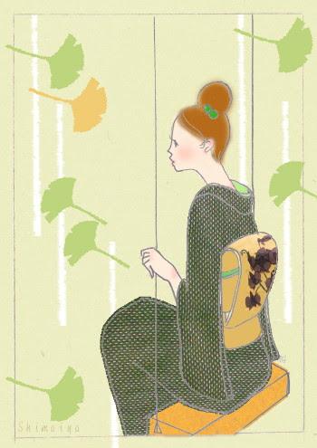 着物イラストとその着物秋風を感じてブランコ緑の着物にアースカラー