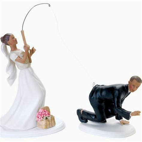 Catch Of The Day Ethnic Bride & Groom Wedding Cake Topper