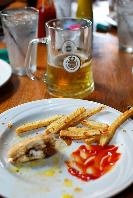 Remains of my lunch, and beer.