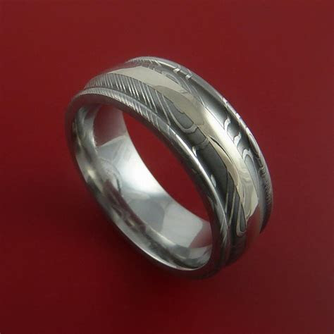 Damascus Steel 14K White Gold Ring Custom Made Wedding