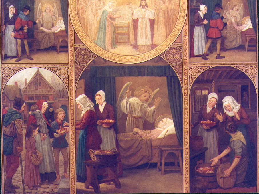 St. Lydwine giving alms from her purse, which was always full