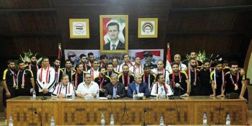 بالصور والفيديو .. تكريم منتخب سورية لكرة القدم تقديرا لتأهله...