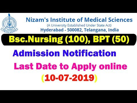 NIMS Bsc Nursing BPT Admission Notification | NIMS BPT BSC Nursing On-line Software