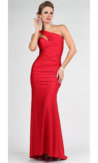 Long red silk evening dress