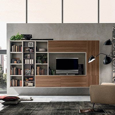 Wall Mounted Modern Tv Media Unit Oak By Santa Lucia In Contemporary Tv Units Modern Tv