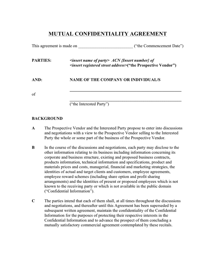 Mutual Confidentiality Agreement Australia In Word And Pdf Formats