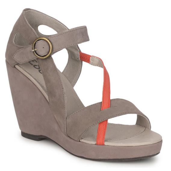 Esska Heeled Wedge Suede Sandals Grey and Red Spartoo