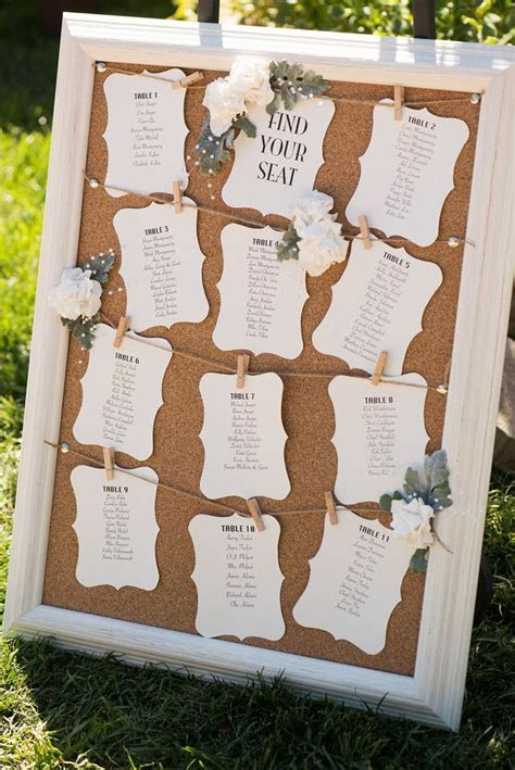 Cork board wedding seating chart #seatingassignments #