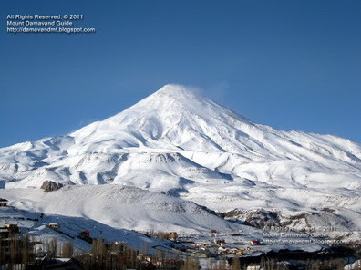 Damavand Mountain in Winter, View from Polour Village