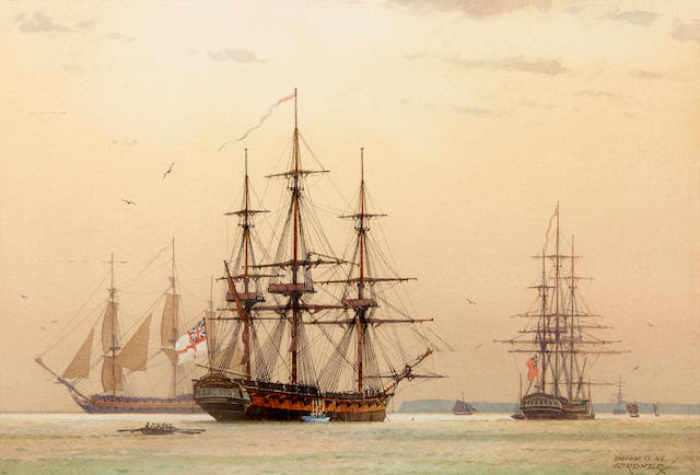 Derek George Montague Gardner (British, 1914-2007) Frigates in Torbay, September 1794 8-3/4 x 13 in. (22.2 x 33 cm.), sight. [not examined out of the frame]