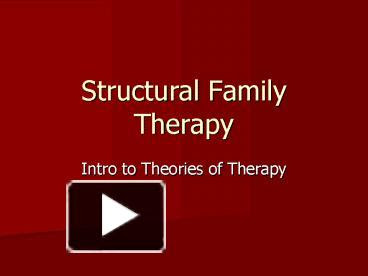 PPT - Structural Family Therapy PowerPoint presentation ...